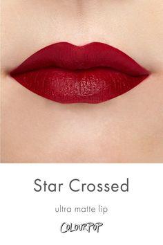 Star Crossed deep berry red Ultra Matte lipstick swatch on fair skin