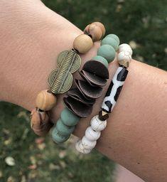 Chunky Beaded Bracelet Olive Wood Beads Africa Baule Beaded