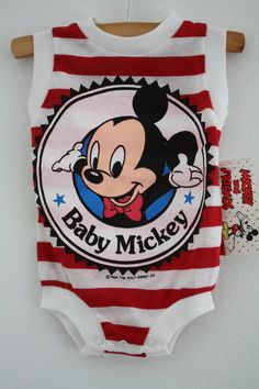 Vintage NOS Disney Mickey Mouse Baby Onesie by 1SweetDreamVintage
