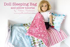 American Girl Doll Sleeping Bag Sewing Tutorial A free American Girl Doll Sleeping Bag Tutorial. Complete sewing pattern and instructions for a sleeping bag for an American Girl doll. Bag Sewing, Sewing Doll Clothes, Sewing Dolls, Girl Doll Clothes, Girl Dolls, Ag Dolls, Diy Clothes, Free Sewing, Doll Sewing Patterns