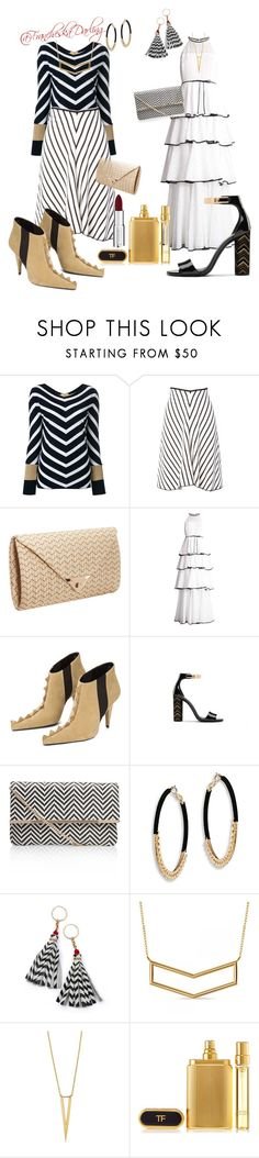 """Who Did That? Chevron/Zigzag 3-6-18"" by francheskadarling ❤ liked on Polyvore featuring FAY, Sonia Rykiel, JNB, Zac Posen, Miss KG, Ettika, Lowie, Allurez, Tom Ford and Givenchy"