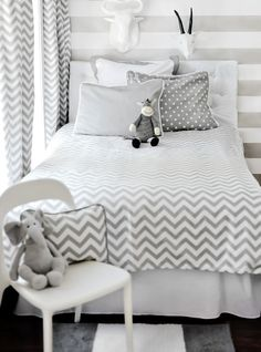 Love this gray chevron bedding!