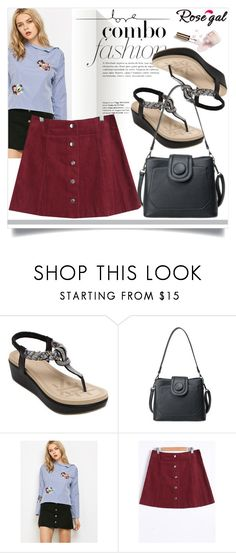 """""""Rosegal 44"""" by fashion-with-lela ❤ liked on Polyvore featuring Ciaté, vintage, cute, skirt, stripes and girly"""