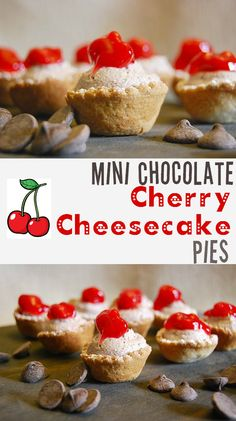 www.creativemeinspiredyou.com Little chocolate cherry bites of cheesecake in a pieshell, this dessert is just a little bite of heaven. Chocolate, cherry, cheesecake, dessert, holiday, christmas, baking, homemade, diy, snacks, hors devours, appetizers, pot luck, bite size