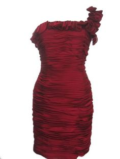 JS COLLECTIONS One-Shoulder Ruffles Dress-WINE-10 « Clothing Impulse