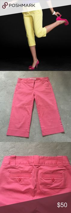 J. Crew Coral Pink Chino J. Crew Chino, Favorite Fit Stretch crop pant in bold coral pink. Straight leg, zip front, double slide catch closure. Beautiful pant in a great color, never worn, tags removed, perfect condition. Size 2 - I'm a typically a size 2 in almost all pants/shorts and these run a bit big on me (still wearable, but bigger than I prefer), but I think they're standard sizing for J. Crew. J. Crew Pants Ankle & Cropped