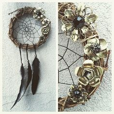 Antique Gold Floral Wreath Dream Catcher  by ZenLunaticNYC on Etsy