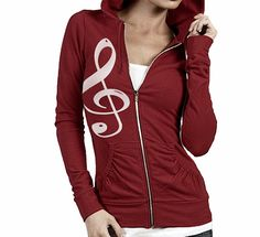 Free Shipping Music Note Zip Up Hoodie Jacket w/ by GOFBclothing, $34.00