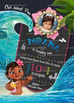 Personalize Baby Moana Invitation, Pua Birthday Party Invite