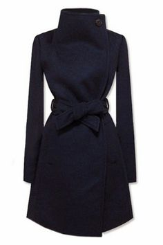 Navy Long Sleeve Shawl Collar Self Tie Duffle Coat; Yes! Wish it had buttons on both sides going down but this is so my style...classic meets feminine.
