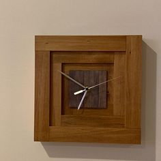 Square Wall Clock Geometric Design and Form Box Inspired Rustic Wall Clocks, Unique Wall Clocks, Wood Clocks, Rustic Wall Decor, Rustic Walls, Hanging Clock, Clock Wall, Shelf Wall, Wood Shelf