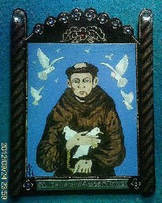 St. Francis of Assisi with Doves Retablo - Feast Day-October 4 - pinned by pin4etsy.com