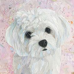 Dog Quilts, Canvas Crafts, Dog Portraits, Animal Paintings, Fabric Art, Dog Art, Cute Drawings, Collage Art, Art Inspo