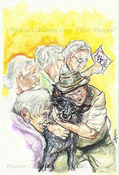 """Ella's day job"" acrylic watercolor by Dyann Callahan, children's book sample"