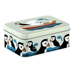 Blafre tin with puffins available here: www. Color Naranja, Matcha, Toy Chest, Storage Chest, Back To School, Bee, Wraps, Retro, Toys