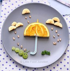 A whole lot of food art designs to make your kids smile, and hopefully eat their snacks. These incredible works of (food) art look too good to eat! Food Art Lunch, Cute Food, Good Food, Funny Food, Food Art For Kids, Children Food, Healthy Snacks, Healthy Recipes, Healthy Rice