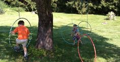 let the children play: it's playtime - obstacle courses (do with willow hoops instead) | Kids outdoor play | Pinterest | Backyards, Warriors and Trees