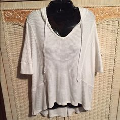 LAZY SUNDAY shirt LAZY SUNDAY shirt with high low hem...waffle knit with hoodie...cream in color...NWT LAZY SUNDAY Tops Sweatshirts & Hoodies