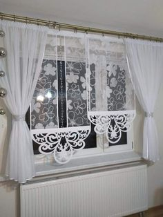 Cafe Curtains, Drapes Curtains, Lace Window, Apartment Balcony Decorating, Beautiful Curtains, Curtain Designs, Shabby Chic Decor, Soft Furnishings, Window Treatments