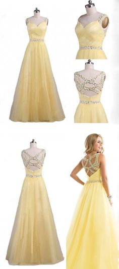 Pastel Yellow Tulle A-line Prom Dress With Beading  #prom # evening