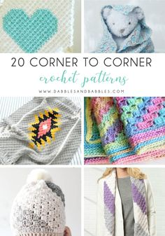 20 Corner to Corner Crochet Patterns - Dabbles & Babbles Crochet Deer, C2c Crochet, All Free Crochet, Basic Crochet Stitches, Crochet Flowers, Crochet Heart Blanket, Crochet Baby Blanket Free Pattern, Afghan Crochet Patterns, Crochet Patterns For Beginners