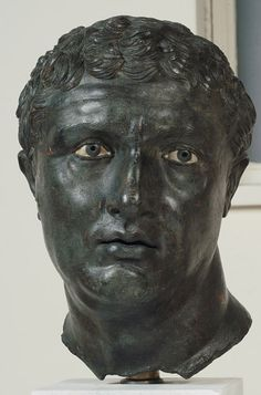 Portrait of a Man, c. 100 BC; bronze, copper, glass, and stone..The National Archaeological Museum, Athens.