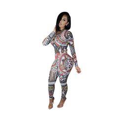 New-Women-Sexy-Mesh-Tribal-Geometric-Print-Keyhole-Club-Bodysuit-Jumpsuit