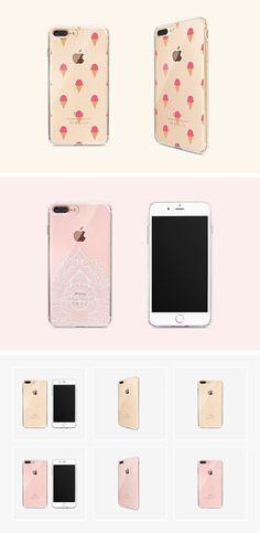 Transparent iPhone 7 Plus Case Mockup Set
