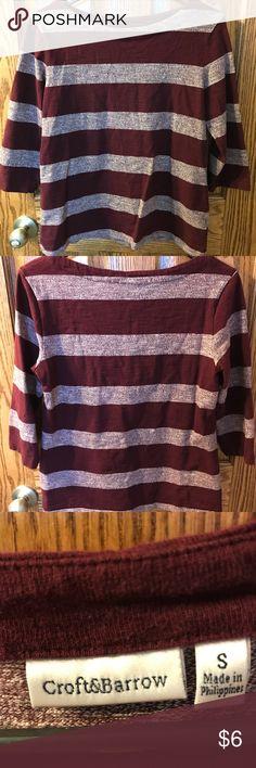 Striped shirt Burgundy and grey striped shirt. croft & barrow Tops Blouses