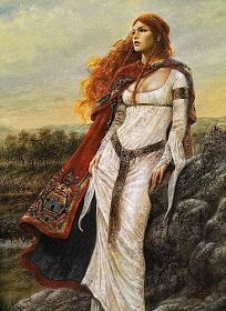 by Luis Royo--has a pre-Raphaelite look Scottish Warrior, Luis Royo, Celtic Mythology, Celtic Goddess, Greek Mythology, Celtic Art, Celtic Fantasy Art, Medieval Fantasy, Celtic Dragon