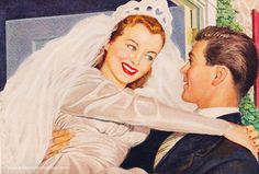 A cheerful young newlywed couple by way of a 1949 Camay Soup ad. #1940s #wedding #bridge #ad #soap #forties