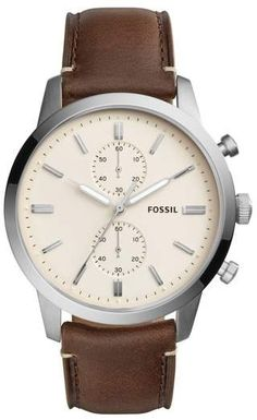Fossil Townsman Chronograph Leather Strap Watch, 44mm #ad
