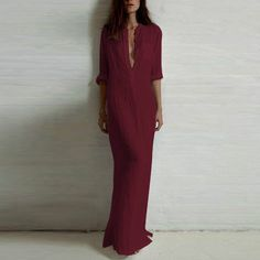 Fashion Vestidos 2015 Autumn Women Sexy Casual Dress Ladies Long Sleeve Deep V Neck Linen Split Solid Long Maxi Dress Plus Size Long Sleeve Maxi, Long Sleeve Shirt Dress, Maxi Dress With Sleeves, Dress Long, Slit Dress, Sleeved Dress, Dress Plus Size, Plus Size Maxi Dresses, Fashion Vestidos