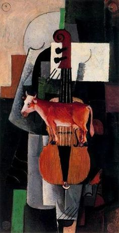 Kasimir Malevich - Cow and Violin, 1913.