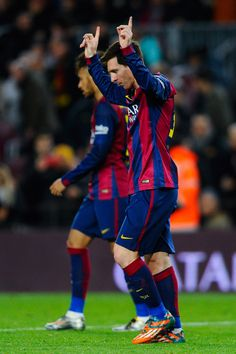 Lionel Messi of FC Barcelona celebrates after scoring the opening goal during the Copa del Rey Semi-Final first leg match between FC Barcelona and Villarreal CF at Camp Nou on February 2015 in Barcelona, Catalonia. Lionel Messi, Messi Y Neymar, Fc Barcelona, Barcelona Futbol Club, Barcelona Catalonia, Villarreal Cf, Messi 2015, Messi Photos, Uefa Champions