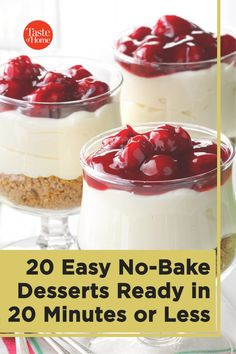 We all need a few recipes for quick, no-bake desserts in our recipe boxes. And by quick we mean from the bowl to the table in 20 minutes or less—no set-up time, no extended chills in the fridge. These treats are ready to eat fast! Easy No Bake Desserts, Summer Desserts, Fun Desserts, Dessert Recipes, Eating Fast, Porch Decorating, Recipe Box, Front Porch, Boxes