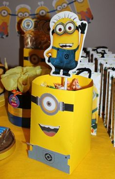 Fun decorations at a Minion birthday party! See more party ideas at CatchMyParty.com!