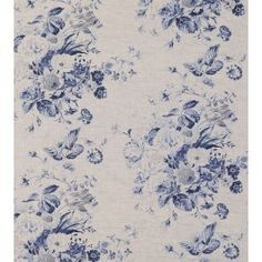 Beautiful blue floral print on natural linen fabric from cabbages and roses.  Suitable for blinds and curtains, light upholstery and soft furnishings.
