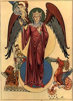Woman of the Apocalypse,   Hortus deliciarum (1185 A.D.)