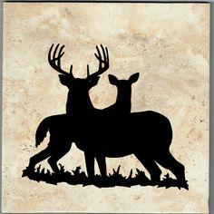Sandblast Etched Ceramic tile with Deer
