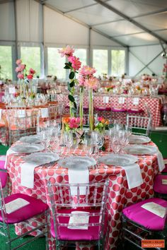 love the polka dots -  Boston Wedding Photography, Boston Event Photography, Pink Wedding Inspiration, Pink Wedding Table, Summer Wedding Inspiration