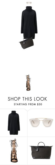 """""""Untitled #3000"""" by mitchelcrandell ❤ liked on Polyvore featuring Uniqlo, Prada, Gianvito Rossi and Longchamp"""