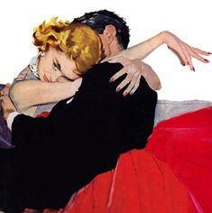 illustration by Andy Virgil for Good Housekeeping magazine March 1955 Romance Art, Vintage Romance, Pulp Fiction Art, Pulp Art, Affinity Photo, Arte Pop, Art Moderne, Couple Art, Retro Art