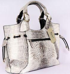 handbags | Ivory Twotone Vintage Crocodile Designer Handbags.