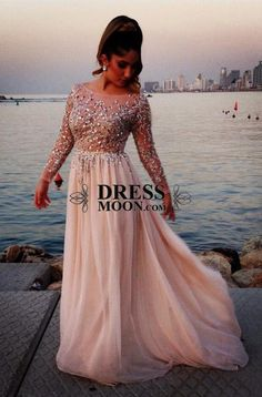 2015 Scoop A Line Long Sleeves Chiffon Prom Dress Long Sleeve Chiffon Formal Evening Party Cocktail Ball Gown - PROM