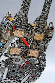 Welded Sculptures Made from Found Objects and Recycled Materials by Brian Mock, Heavy Metal Guitar - ART Found Object Art, Found Art, Guitar Art, Cool Guitar, Recycled Art, Recycled Materials, Metal Animal, Art And Craft, Dog Sculpture