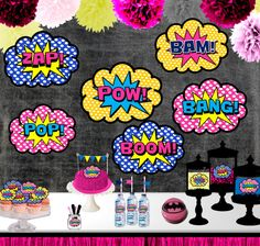 Superhero Girl Party Signs, Superhero Centerpieces, Signs, Decor, Pow, Bang, Zap, Boom, INSTANT DOWNLOAD, DIY, printable - Love the Party