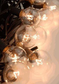 "Paper Lantern Lights 10 Clear Bulbs 48"" Spacing Black Cord 40.5'"