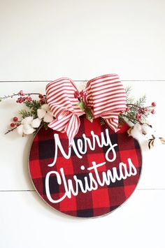 Christmas Wreath - Buffalo Plaid - Farmhouse - Buffalo Check - Door Hanger - Door Decor - Wall Decor - Christmas Ornament - Barnwood Finish by mona Christmas Door, Christmas Signs, Christmas Projects, Winter Christmas, Holiday Crafts, Christmas Wreaths, Christmas Decorations, Merry Christmas, Xmas
