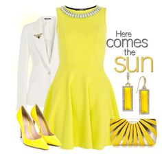 A fashion look from April 2016 featuring yellow skater dress, slim blazer and heel pump. Browse and shop related looks. Abs By Allen Schwartz, Pointed Toe Pumps, Green Dress, Skater Dress, Sunny Days, Pumps Heels, Sunnies, Lemon, Fashion Looks